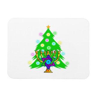 Chanukkah y navidad rectangle magnet