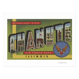 Chanute Air Force Base - Large Letter Scenes Postcard