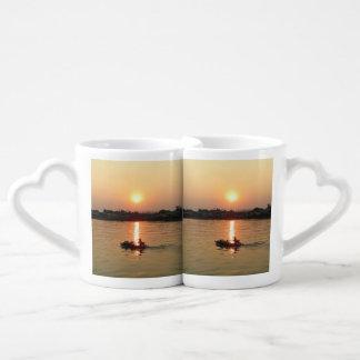 Chao Phraya River Sunset ... Ayutthaya, Thailand Couple Mugs
