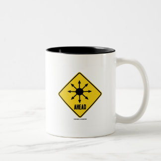 Chaos Ahead (Transportation Warning Sign Humor) Two-Tone Coffee Mug