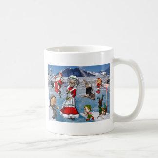 Chaos at the North Pole, Ice Skating Santa Claus Classic White Coffee Mug