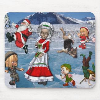 Chaos at the North Pole, Ice Skating Santa Claus Mouse Pad