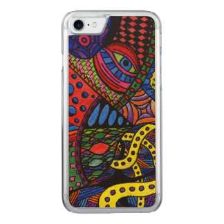 Chaos Eye - colorful doodle painting Carved iPhone 7 Case