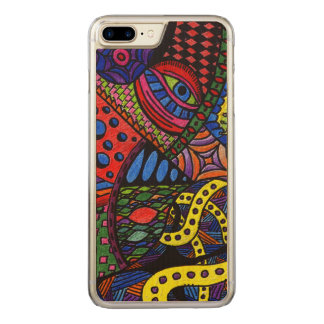 Chaos Eye - colorful doodle painting Carved iPhone 7 Plus Case