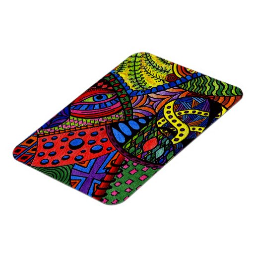 Chaos Eye - colorful doodle painting Magnet
