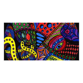 Chaos Eye - colorful doodle painting Photo Card