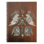 Chaos is order with brown leather cover spiral notebook