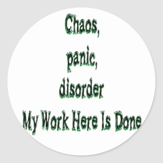 Chaos Panic Disorder Classic Round Sticker