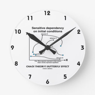 Chaos Theory's Butterfly Effect (Sensitivity) Round Wall Clocks