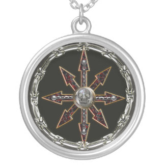 chaos wheel silver plated necklace