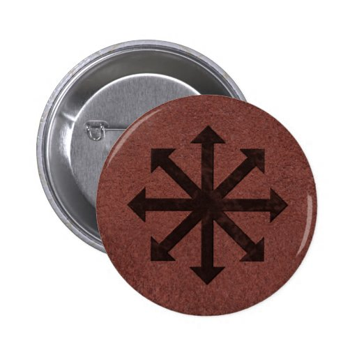Chaosphere - Occult Magick Symbol on Red Leather Pinback Buttons