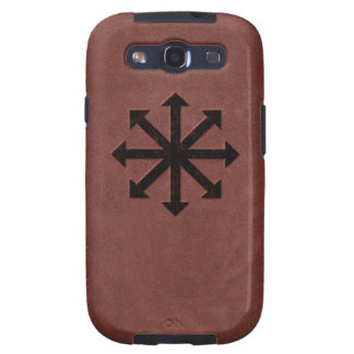 Chaosphere - Occult Magick Symbol on Red Leather Samsung Galaxy S3 Covers