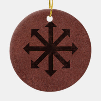 Chaosphere - Occult Magick Symbol on Red Leather Ceramic Ornament