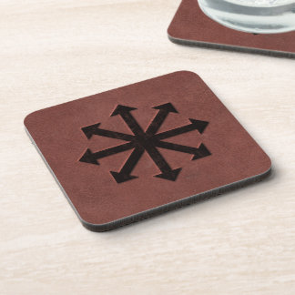 Chaosphere - Occult Magick Symbol on Red Leather Drink Coaster