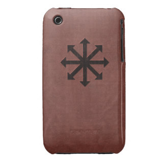 Chaosphere - Occult Magick Symbol on Red Leather iPhone 3 Case
