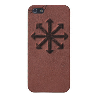 Chaosphere - Occult Magick Symbol on Red Leather Cover For iPhone 5/5S