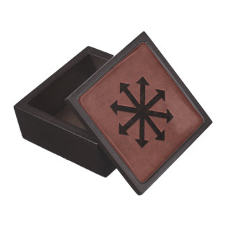 Chaosphere - Occult Magick Symbol on Red Leather Premium Jewelry Box