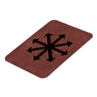 Chaosphere - Occult Magick Symbol on Red Leather Rectangular Photo Magnet