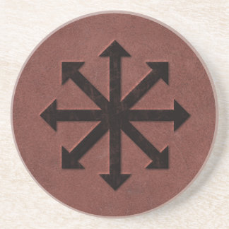 Chaosphere - Occult Magick Symbol on Red Leather Sandstone Coaster