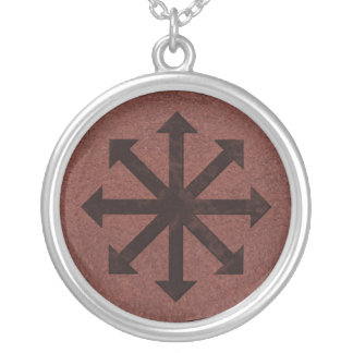 Chaosphere - Occult Magick Symbol on Red Leather Silver Plated Necklace