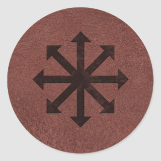 Chaosphere - símbolo oculto de Magick en el cuero Pegatina Redonda
