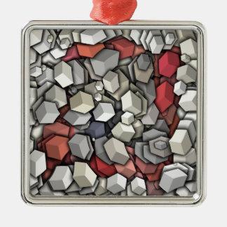 Chaotic 3D Cubes Metal Ornament