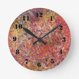 Chaotic abstract multicolored pattern round clock