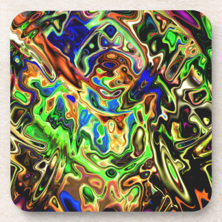 Chaotic Colorful Curves Beverage Coaster