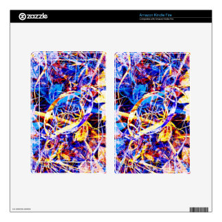 Chaotic Nature Blue and Yellow Kindle Fire Skin