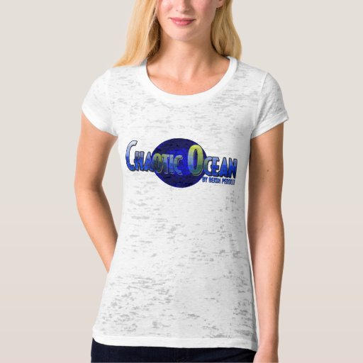 Chaotic Ocean Women's Fitted Burnout Tee Shirts