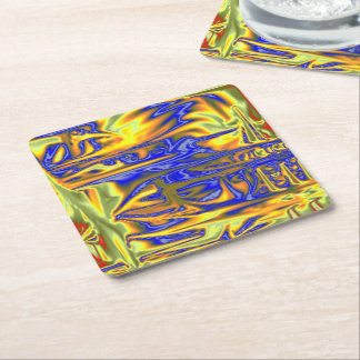 Chaotic ugly pattern square paper coaster
