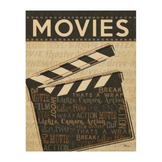 Chapaleta de la película del vintage impresión en madera