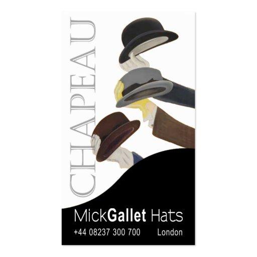 """Chapeau"" Milliner, Hat Designer, Haberdasher Business Card Templates"