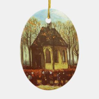 Chapel at Nuenen, Churchgoers by Vincent van Gogh Ceramic Ornament
