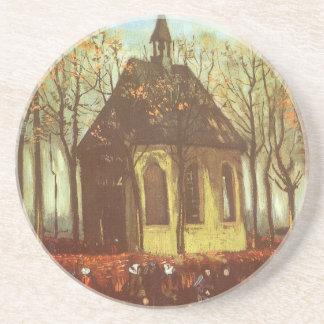 Chapel at Nuenen, Churchgoers by Vincent van Gogh Coaster