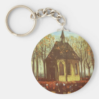 Chapel at Nuenen, Churchgoers by Vincent van Gogh Keychain