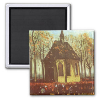 Chapel at Nuenen, Churchgoers by Vincent van Gogh Magnet