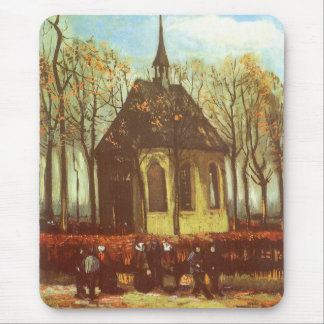Chapel at Nuenen, Churchgoers by Vincent van Gogh Mouse Pad