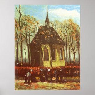 Chapel at Nuenen w Churchgoers by Vincent van Gogh Print