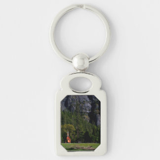 Chapel at Yosemite Silver-Colored Rectangular Metal Keychain