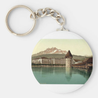 Chapel Bridge and view of Pilatus, Lucerne, Switze Basic Round Button Keychain