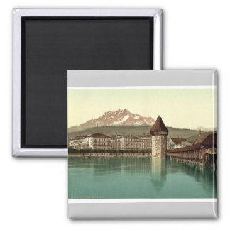 Chapel Bridge and view of Pilatus, Lucerne, Switze Magnet