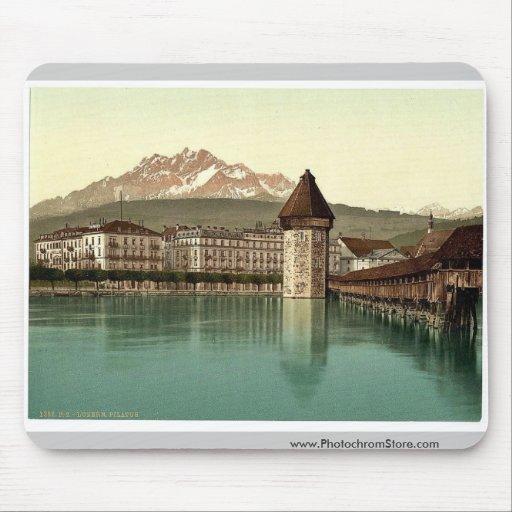 Chapel Bridge and view of Pilatus, Lucerne, Switze Mouse Pad