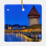 Chapel bridge, Kapellbrucke, Lucerne, Switzerland Ceramic Ornament
