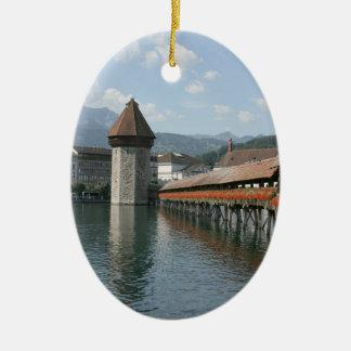 Chapel Bridge, Lucerne, Switzerland Ceramic Ornament