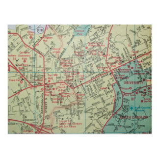 CHAPEL HILL-CARRBORO, NC Vintage Map Postcard