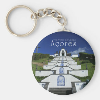 Chapel in Azores Basic Round Button Keychain