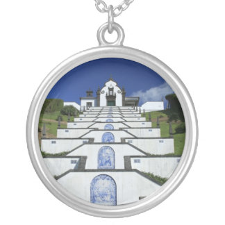 Chapel in Azores Round Pendant Necklace