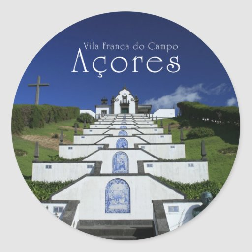 Chapel in Azores Round Stickers
