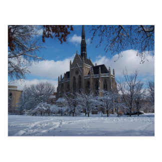 Chapel in the snow postcard